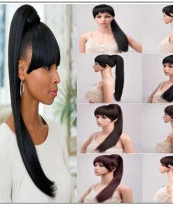 Black girl ponytail with bangs 3-min