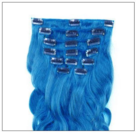 Blue Body Wave 100% Remy Hair Clip In Human Hair Extensions 2-min