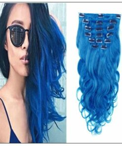 Blue Body Wave 100% Remy Hair Clip In Human Hair Extensions IMG-min