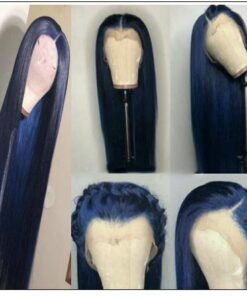 Blue Wig Lace Front Straight Free Part Human Hair Wig 3-min