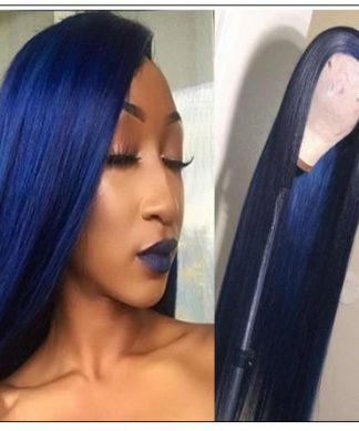 Blue Wig Lace Front Straight Free Part Human Hair Wig IMG-min