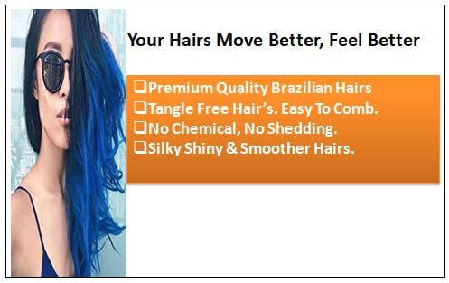 Blue(#Blue) Deluxe Straight Clip In Human Hair Extensions 1-min