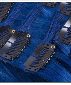 Blue(#Blue) Deluxe Straight Clip In Human Hair Extensions 2-min