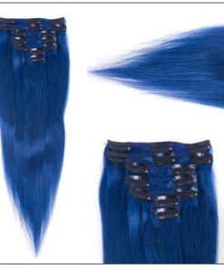 Blue(#Blue) Deluxe Straight Clip In Human Hair Extensions 3-min