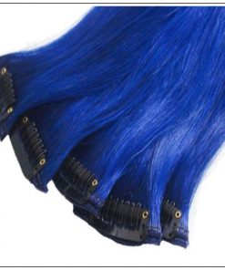 Blue(#Blue) Deluxe Straight Clip In Human Hair Extensions 4-min