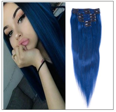 Blue(#Blue) Deluxe Straight Clip In Human Hair Extensions IMG-min