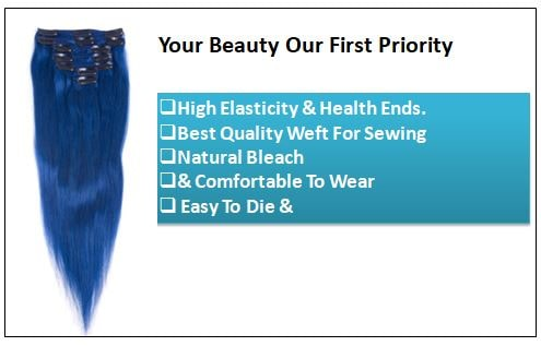 Blue(#Blue) Deluxe Straight Clip In Human Hair Extensions-min