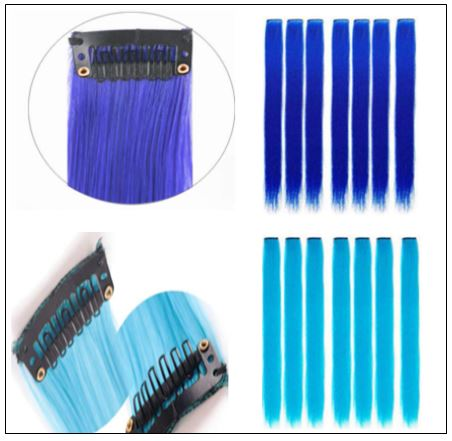 Clip in Remy Human Hair Extensions Blonde and Teal Blue 2-min