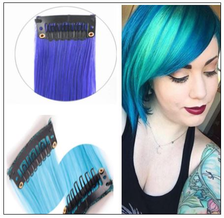 Clip in Remy Human Hair Extensions Blonde and Teal Blue 3-min