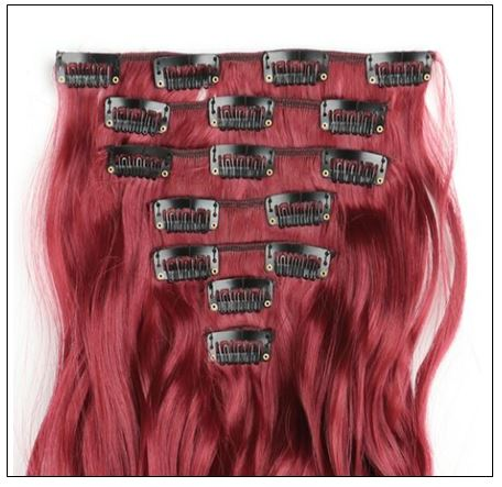 Curly Maroon Mix Dark Red Clip In Hair Extension 2-min