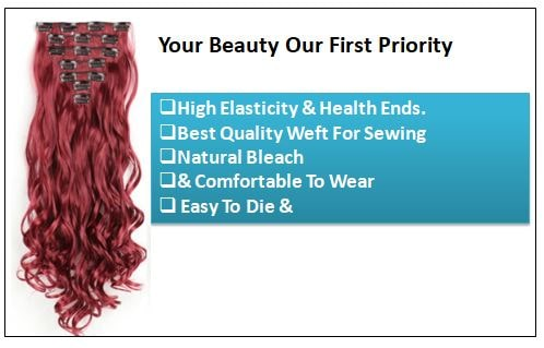 Curly Maroon Mix Dark Red Clip In Hair Extension 2..-min