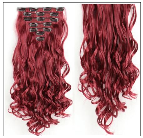 Curly Maroon Mix Dark Red Clip In Hair Extension 3-min