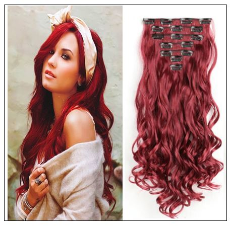 Curly Maroon Mix Dark Red Clip In Hair Extension IMG-min