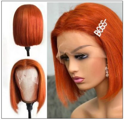 Ginger Orange Human Hair Wig T Part Lace Wig 150 Density Ombre Color Short Bob Straight Brazilian Remy Human Hair Lace Front Wig 3.-min