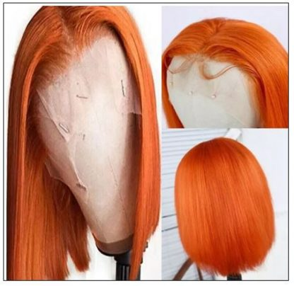 Ginger Orange Human Hair Wig T Part Lace Wig 150 Density Ombre Color Short Bob Straight Brazilian Remy Human Hair Lace Front Wig 4-min