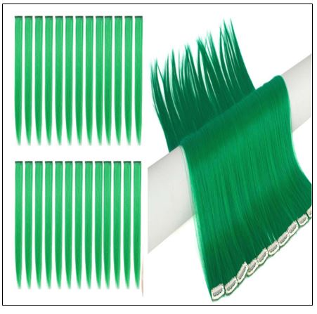 Green Clip In Hair Extensions 3-min