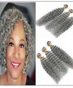 Grey Deep Curly Human Hair Bundles img