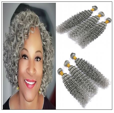 Grey Deep Curly Human Hair Bundles img