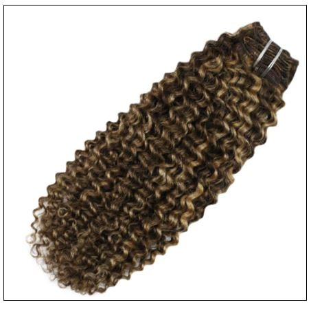 Kinky Curly Hair Extensions Real Human Hair Brown #4 Highlighted with Caramel Blonde #27 img 3-min