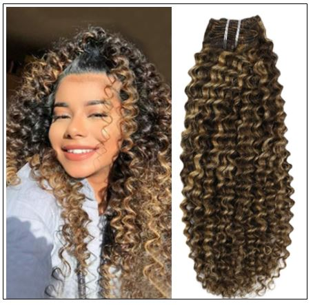 Kinky Curly Hair Extensions Real Human Hair Brown #4 Highlighted with Caramel Blonde #27 img-min