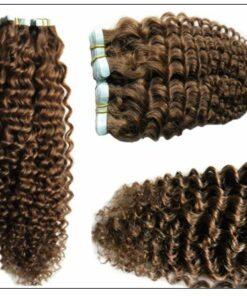 Kinky Curly Tape in Hair Extensions Long Glue Hair Extensions Human Hair 6# Dark Chocolate Brown 2-min
