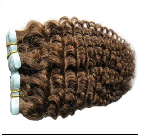 Kinky Curly Tape in Hair Extensions Long Glue Hair Extensions Human Hair 6# Dark Chocolate Brown 3-min
