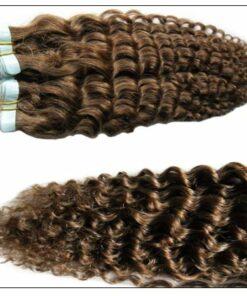 Kinky Curly Tape in Hair Extensions Long Glue Hair Extensions Human Hair 6# Dark Chocolate Brown 4-min