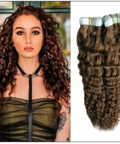 Kinky Curly Tape in Hair Extensions Long Glue Hair Extensions Human Hair 6# Dark Chocolate Brown img-min