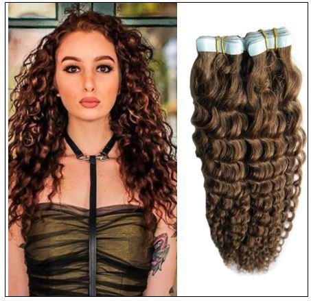 Kinky Curly Tape in Hair Extensions Long Glue Hair Extensions Human Hair 6# Dark Chocolate Brown img-min