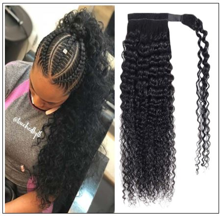 Long curly ponytail weave with braids img-min