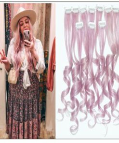 Metallic Silver Pink Clip Hair Extensions img-min