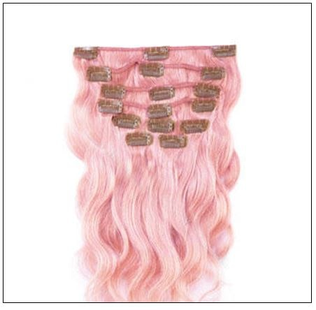Pink Body Wave 100% Remy Hair Clip In Human Hair Extensions 2-min