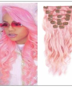 Pink Body Wave 100% Remy Hair Clip In Human Hair Extensions IMG-min