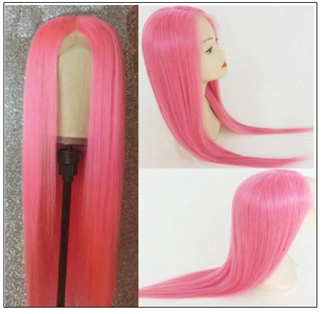 Pink Straight Wigs Lace Front Human Hair 130% Density 2-min