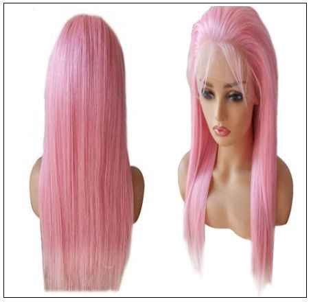 Pink Straight Wigs Lace Front Human Hair 130% Density 4-min