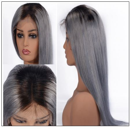 Pre-Plucked Straight Lace Front Wig T1B Grey Human Hair Wigs 2-min