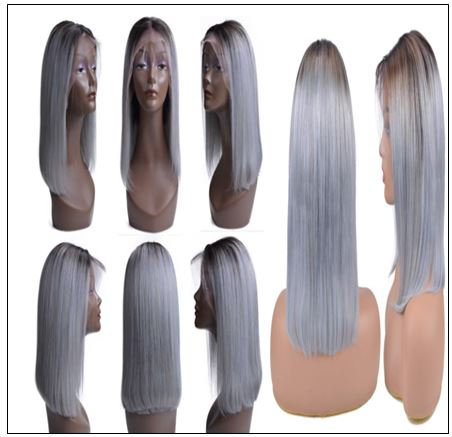 Pre-Plucked Straight Lace Front Wig T1B Grey Human Hair Wigs 3-min