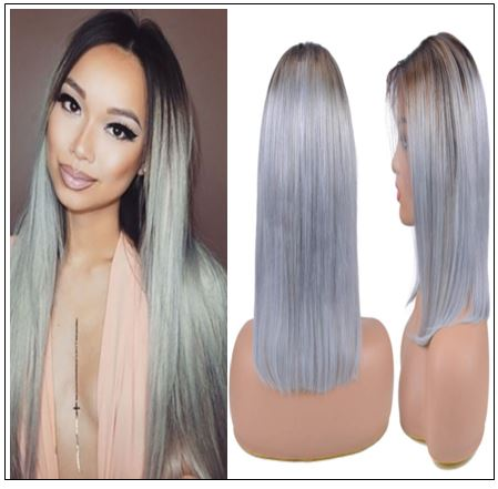 Pre-Plucked Straight Lace Front Wig T1B Grey Human Hair Wigs IMG-min
