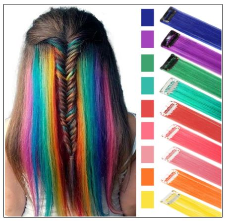 Rainbow Hair Extensions Colored Party Highlights Straight Hair Extension Clip In 2-min