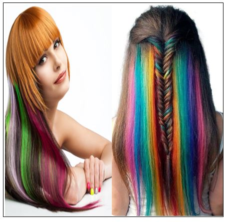 Rainbow Hair Extensions Colored Party Highlights Straight Hair Extension Clip In 3-min
