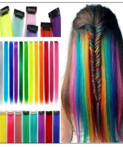 Rainbow Hair Extensions Colored Party Highlights Straight Hair Extension Clip In 4-min