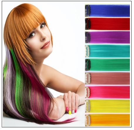 Rainbow Hair Extensions Colored Party Highlights Straight Hair Extension Clip In img-min