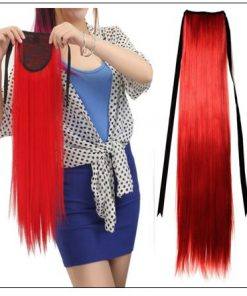 Red Ponytail hair extension 3-min