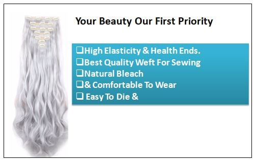 Silver Gray Platinum Clip In Hair Extension 2-min