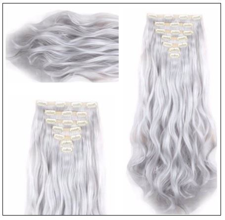 Silver Gray Platinum Clip In Hair Extension 2..-min