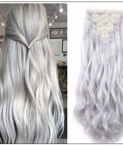 Silver Gray Platinum Clip In Hair Extension img-min
