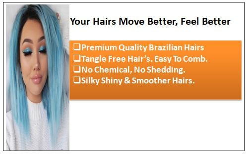Sky Blue Straight Clip In Human Hair Extensions 1-min