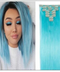 Sky Blue Straight Clip In Human Hair Extensions img-min