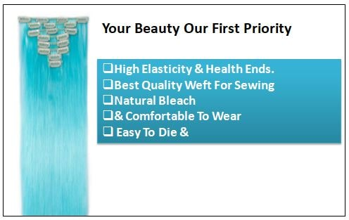 Sky Blue Straight Clip In Human Hair Extensions-min