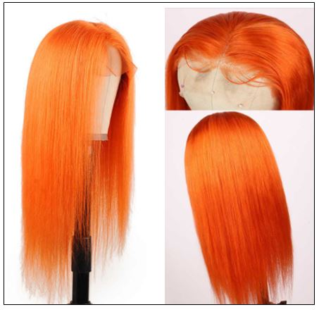 Straight Full Lace Orange Human Hair Wigs With Baby Hair 613 Honey Blonde Hair Full Lace Wig Pre Plucked Hair Transparent 2-min